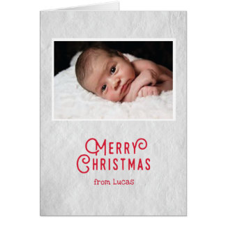 Baby's first Christmas card on rustic paper