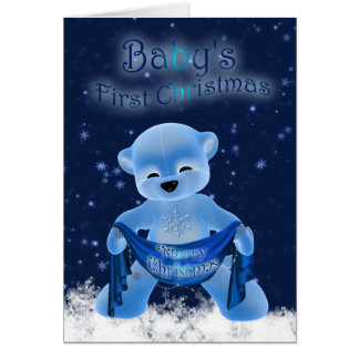 Baby's First Christmas Card With Cute Little Bear