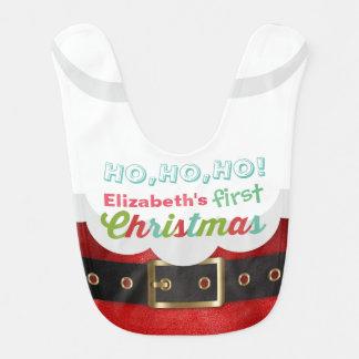 Baby's First Christmas Cartoon Santa Claus Suit Ho Bib