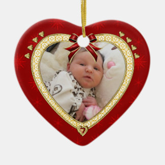 Baby's First Christmas Custom Photo Heart Ornament