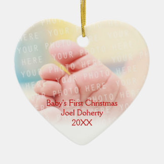 Baby's First Christmas Cute Owls Pattern Ceramic Heart Decoration