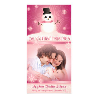 Baby's First Christmas Cute Snowman Pink Picture Card