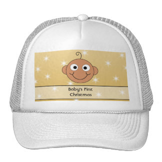 Baby's First Christmas. Dark Skin. On Gold Color. Trucker Hat