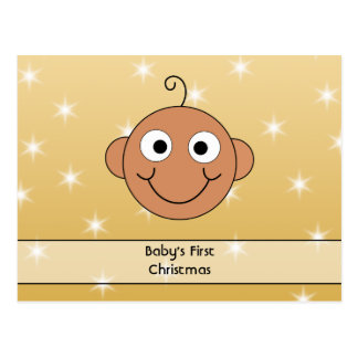 Baby's First Christmas. Dark Skin. On Gold Color. Post Card