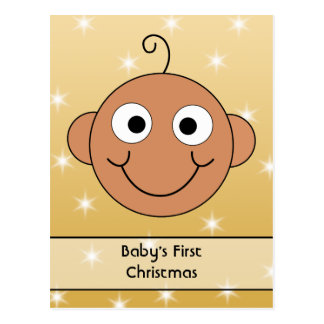 Baby's First Christmas. Dark Skin. On Gold Color. Postcards