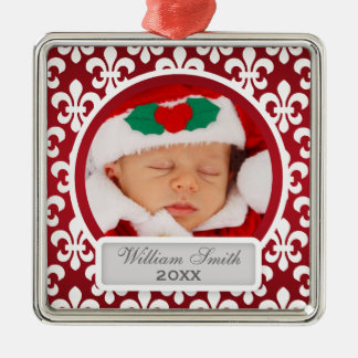 Baby's First Christmas Fleur De Lis Red Metal Ornament
