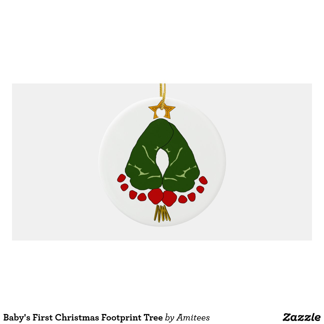 Baby 39 s first christmas footprint tree round ceramic for Babys first christmas decoration