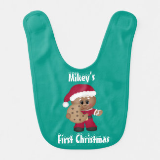 Baby's First Christmas Gingerbread Boy Baby Bibs