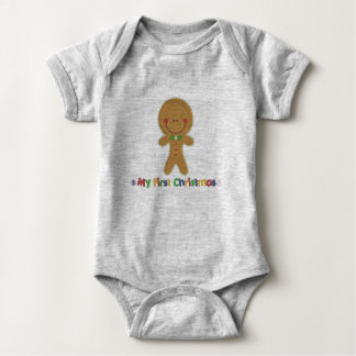 Babys First Christmas Gingerbread Boy Baby Bodysuit