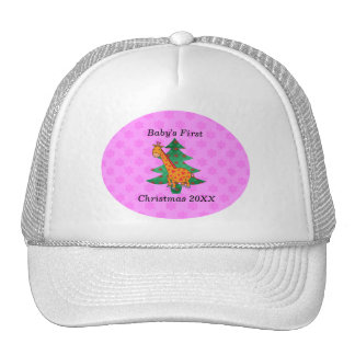 Baby's first christmas giraffe pink snowflakes trucker hat
