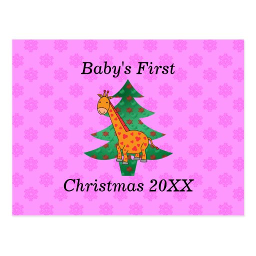 Baby's first christmas giraffe pink snowflakes postcards