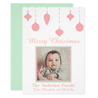 Baby's First Christmas Girl Pink Green Card