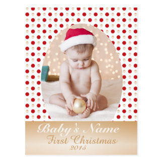 Baby's First Christmas gold and red polka dots Postcard