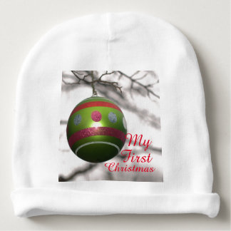 Baby's First Christmas Green Red Ornament Ball Baby Beanie