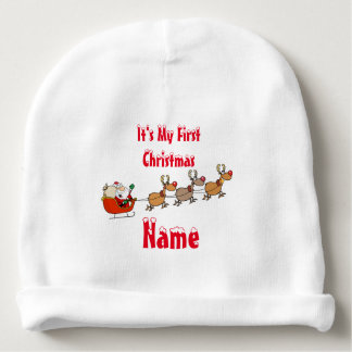 Baby's First Christmas Hat - Add Name keepsake Baby Beanie
