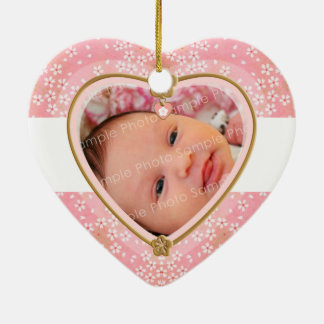 Baby's First Christmas Heart Frame Ceramic Ornament