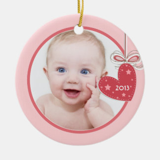 Baby's First Christmas Heart Photo Christmas Round Ceramic Decoration