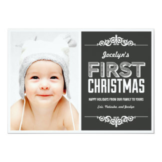 Baby's First Christmas Holiday Cards - Charcoal 13 Cm X 18 Cm Invitation Card