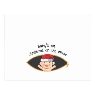 babys first christmas maternity santa baby shower postcard
