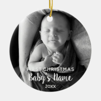 Baby's First Christmas - Modern Calligraphy Ceramic Ornament