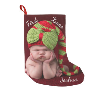 Baby's First Christmas MONOGRAM PHOTO STOCKING