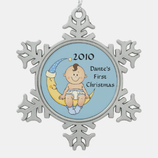Baby's First Christmas Moon Boy Blue Customizable Snowflake Pewter Christmas Ornament