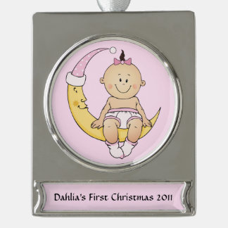 Baby's First Christmas Moon Girl Customizable Silver Plated Banner Ornament