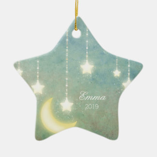 Baby's First Christmas Moon Stars Picture Ornament