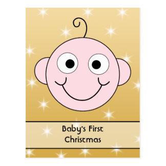 Baby's First Christmas. On Gold Color background. Postcard