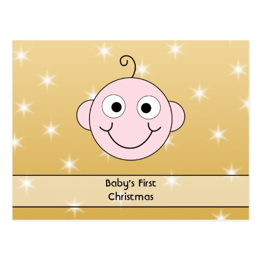 Baby's First Christmas. On Gold Color background. Postcards