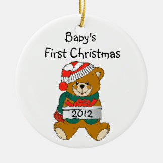 Baby's First Christmas Ornament 2012 Round Ceramic Ornament