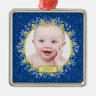 Baby's First Christmas Ornament | Blue Snowflakes