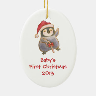Baby's First Christmas Ornament with Penguin