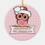 Baby's First Christmas Owl Ornament Round Ceramic Ornament