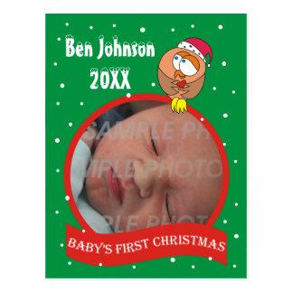 Baby's First Christmas Owl Photo Postcard