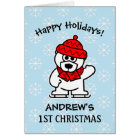 Baby's first Christmas personalised cute Holiday Card