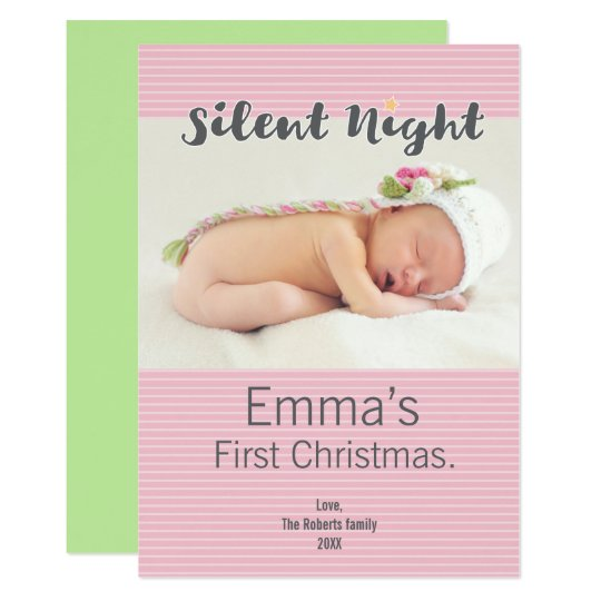 Baby's First Christmas Personalised Photo, purple Card