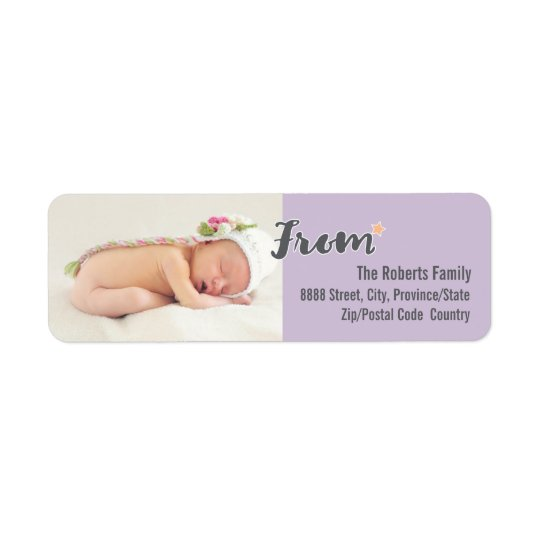 Baby's First Christmas Personalised Photo, purple Return Address Label