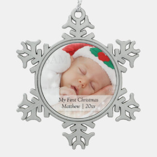 Babys First Christmas Personalised Photo Template Pewter Snowflake Decoration