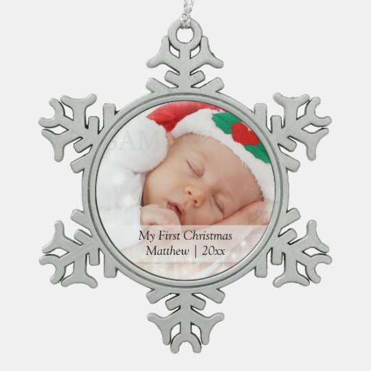 Babys First Christmas Personalised Photo Template Snowflake Pewter ...