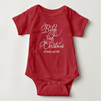 """Baby's First Christmas"" Personalized Baby Bodysuit"