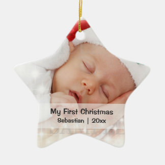 Baby's First Christmas Personalized Photo Template Ceramic Star Decoration