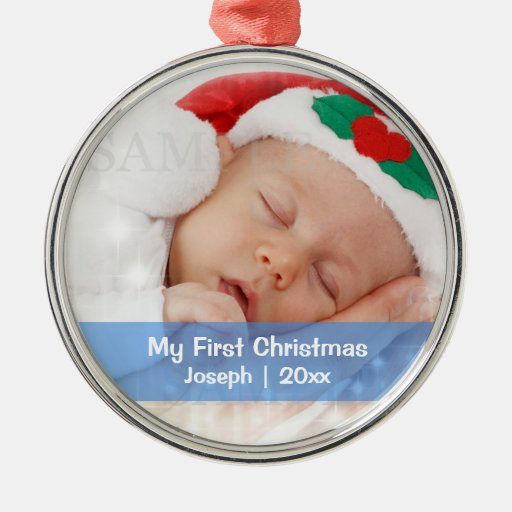 Baby's First Christmas Personalized Photo Template Christmas Tree Ornament