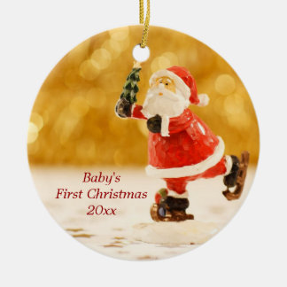 Baby's First Christmas Personalized Santa Ornament
