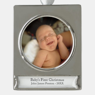 Baby's First Christmas Personalized Silver Plated Banner Ornament