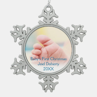 Baby's First Christmas Pewter Snowflake Decoration