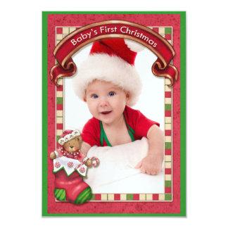 Baby's First Christmas Photo Card - SRF 9 Cm X 13 Cm Invitation Card