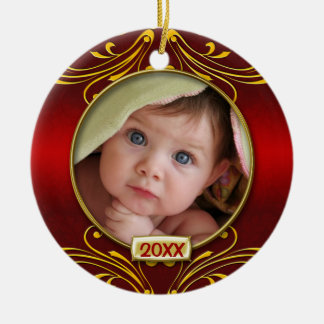 Baby's First Christmas Photo Frame Round Ceramic Decoration