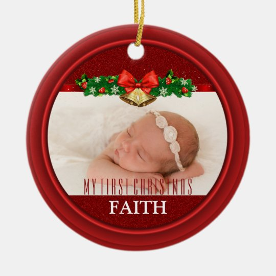 Baby's First Christmas Photo Keepsake 2 Pics Red Ceramic Ornament