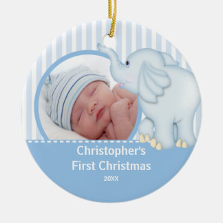 Babys First Christmas Photo Ornament Elelphant